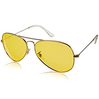 asiawill Herren Stilvolle UV400Nachtsicht polarisierte fahren Brille sunglasses-gold