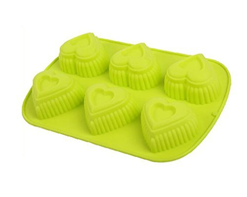 Always Your Chef Silicone Cupcake Baking Cups Handmade Soap Molds, Candy Molds & Chocolates Molds & Ice Cube Trays, Creative Heart Shaped, Random Color by Always (Heart Shaped Ice Cube Trays)