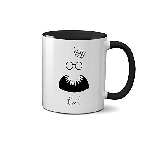 Notorious RBG Dissent Ruth Bader Ginsburg Fighter for Women\'s Rights Art Sketch Schwarze Innenseite und Griff Teetasse Weiße Kaffeetasse Keramik 312ml