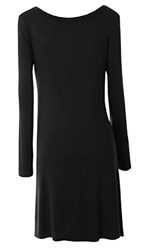 SMITHROAD Damen Langarmshirt Rundhalsausschnitt mit Knöpfen Asymmetrisch Vokuhila Stretch Tunika Unifarben 12 Farben Schwarz