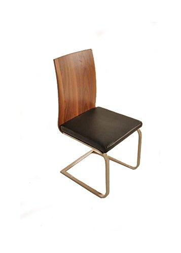 SAM Freischwinger Stuhl Lugano in walnuss farben Sitzfläche schwarz Esszimmerstuhl mit Fuß in...