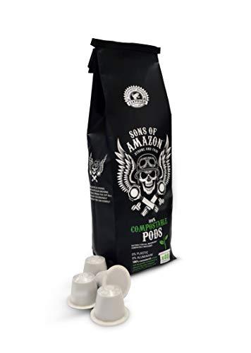 Sons of Amazon KOMPOSTIERBARE Kaffeepads für Nespresso-Maschinen - 40 Kapseln starker Fairtrade-Kaffee - recycelbar, biologisch abbaubar