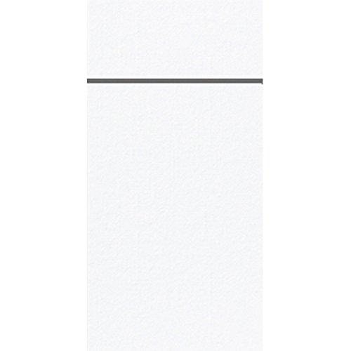 Serviette de table Duniletto - Poches - Blanches - 40 x 48 cm - Lot de 50 - Range-couverts fin