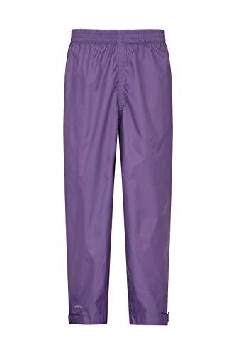 Mountain Warehouse Pakka wasserfeste Kinder-überhose - atmungsaktiv, versiegelte Nähte, Verstellbarer Knöchelbereich, verstaubare Regenhose - Schule bei nassem Wetter Violett 152 (11-12 Jahre)