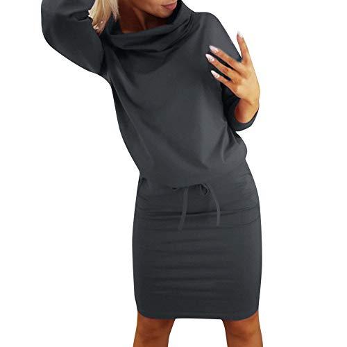 Donna V Neck Vestito Swing Semplice Increspatura Manica Lunga Sciolto Casuale Pianura Maglietta Vestito Tasche