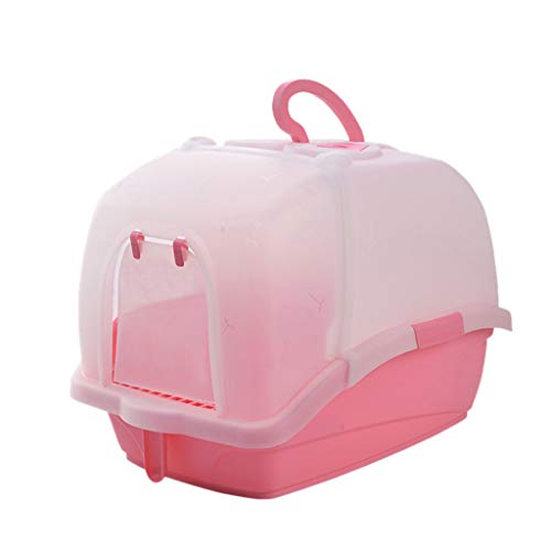 Welhome Cat Litter Box Jumbo, Petlife Cat Toilet, Hooded Cat Litter Box, PP Resin Litter Tray, Fully Enclosed Cat Kitty Litter Pan, for Cat oder Dog Use Pots,Pink,B