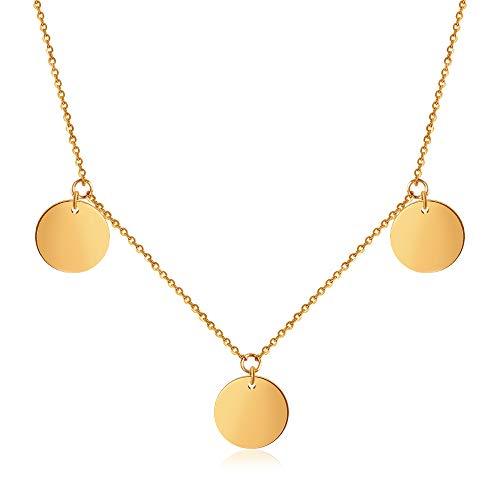 GD GOOD.designs EST. 2015 Damen Multi Coin Halskette mit 3 feinen Coins in Silber Gold oder Roségold, Edelstahl Kreisanhänger Halskette Kettenlänge 45cm (Gold)