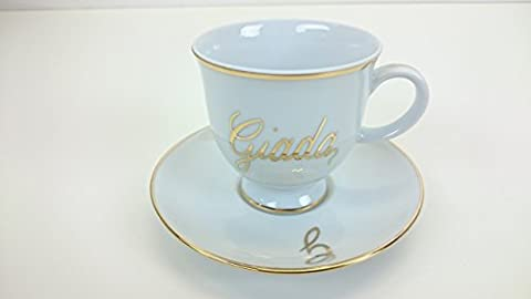 Tea cup with name painted by hand in 24 karats gold