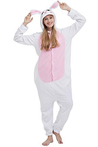 Pyjama Tier Cosplay Kigurumi Animal Weißes Kaninchen Cartoonstil Plüsch für Unisex Damen Herren