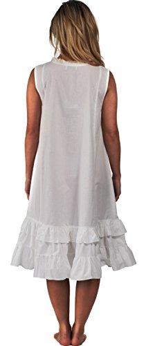 100% Coton Sans Manche Robe De Nuit - Layla Blanc - Blanc