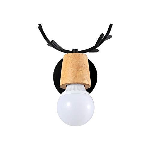 LJ Leben Erhellen Moderne Minimalistische Nordische Geweih Wandlampe Kreative Holz Schmiedeeisen Beleuchtung Lampe Durchmesser Ist Schwarz Warmes Licht 5-8 Quadrat Bett Bett Arbeitszimmer Kinderzimmer - Schwarz Poliert-schreibtisch-lampe