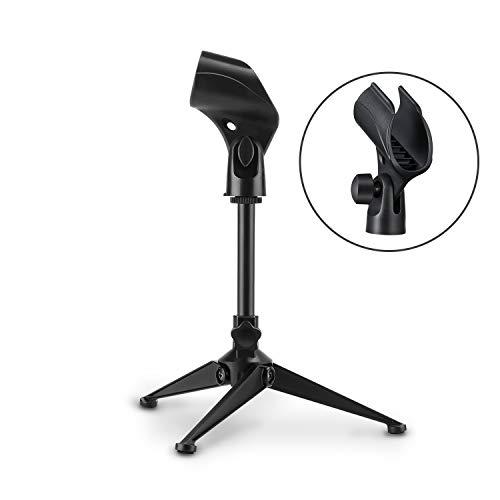 Moukey MMs-4 Universal Tischstativ Mikrofon, faltbares Tisch Montage Mikrofon Halterung Ständer mit Mikrofonklemme