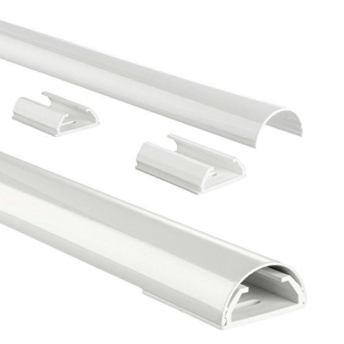 Hama Kabelkanal Alu (Aluminium Leiste für TV Wandhalterung, Kabelabdeckung halbrund,  110 x 3,3 x 1,8 cm, Kabeldurchführung für bis zu 5 TV Kabel, inkl. Montagematerial) weiß