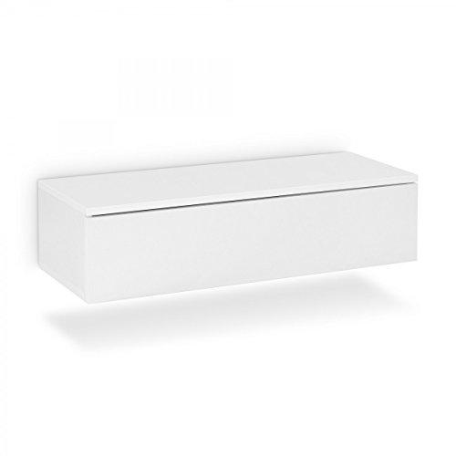 Galdem Hänge Nachttisch mit Schublade Nachtkommode Nachtkonsole Beistelltisch Nachtschrank Hängenachttisch Weiß - Hängende Schublade