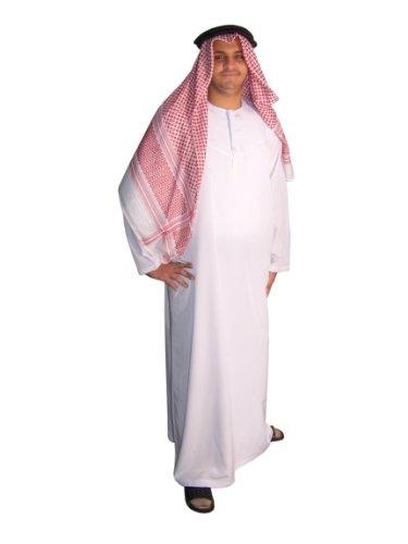 Dreiteiliges Araber Scheich Kostüm Scheichkostüm, Karnevalskostüm - Faschingskostüm, weiss (Arabischer Saudi Tracht)