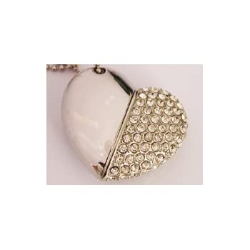 Anyusb032D Fancy Jewellery Studded White Heart Shape Pen Drive (8 Gb) + Exclusive Hand Made Gift Box