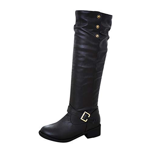 TPulling Damen Kniestiefel High Heels Blockabsatz Stiefeletten Knie Stretch Stiefel Wasserdichte Plattform Anti-Rutsch-Schnürung Damenschuhe -