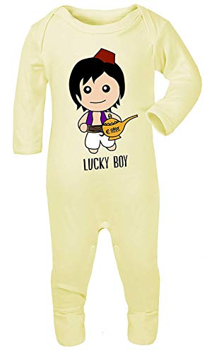 Colour Fashion Aladdin Lucky Boy Aufdruck Kostüm Schlafanzüge Footies 100% Cotton Hypoallergen - Zitrone, 3-6 Months (Kostüm 6 Month Boy)