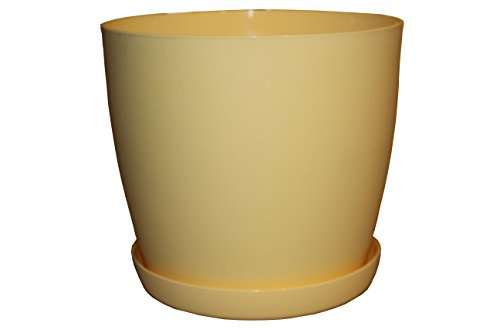 Vasi per Fiori, 6colori, 3misure, Tappetino Vaso Vasi In Plastica + sottovaso, Yellow Mat, 18 cm