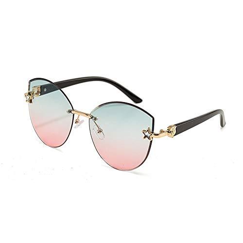 Frameless Outdoor-Sonnenbrillen für Frauen, einfach , getrimmte Marine-Teile, Farbverlauf Accessoires (Farbe : Green/pink)