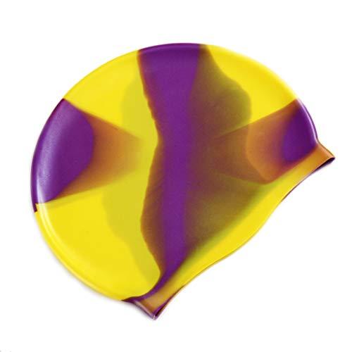 JSMH Beach Supplies Schwimmkopfkappe für Erwachsene, bunt, wasserfest, schützt Ohren, weiches Silikon, leicht, Unisex