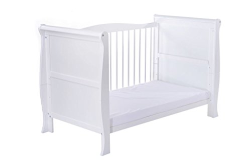 White Sleigh Style Baby Cot Bed & Foam Mattress Converts into a Junior Bed ✔ Full Size 140x70cm Cotbed