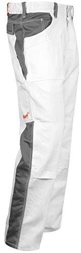 Malerhose Komplett Stretch Stuckateur Putzer Arbeitshose Weiß mit Kniepolstertaschen. Reißverschluss YKK + Metallknopf YKK Baumwolle - Made in EU - Kermen - Weiß-Grau 52