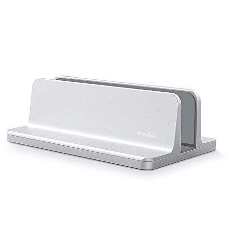 MOSISO Vertikaler Laptop Ständer, Aluminium Legierungs Schreibtisch Halter Standplatz Kompatibel iPad Pro/MacBook Air/MacBook Pro/Surface Pro und anderes Laptop Notizbuch, Silber