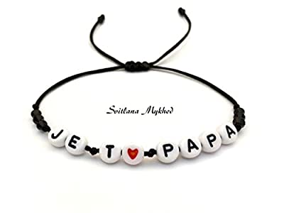 Bracelet JE T'AIME PAPA. DAD. DADDY personnalisé avec prénom, texte, message, logo, initiale lettres de l'alphabet A-Z; création sur mesure; Bijoux fantaisies Handmade