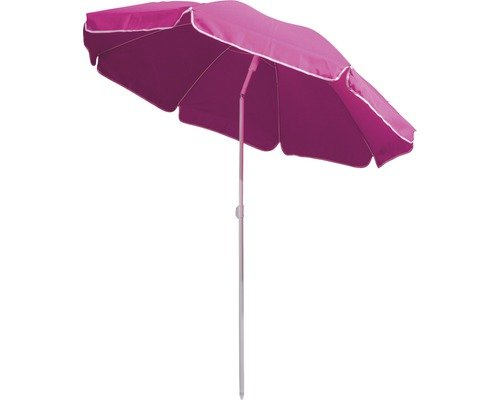 Sonnenschirm Strandschirm pink Durchmesser 200 cm. mit Knickgelenk und höhenverstellbar mit 8 Schirmkopf Rippen