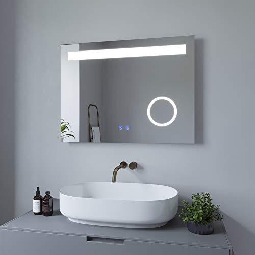 AQUABATOS 80x60 cm Badspiegel Schminkspiegel mit Beleuchtung Badezimmerspiegel Lichtspiegel LED Wandspiegel. Touch-Schalter Dimmbar + Kaltweiß 6400K + Warmweiß 3000K + Spiegelheizung + IP44 + CE