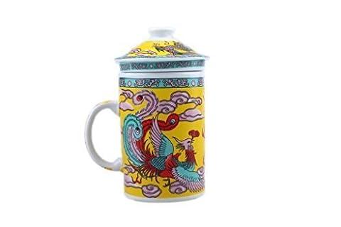 Dragon Phoenix Chinese Three Piece Mug. (Yellow)