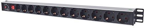 Intellinet 12-fach Steckdosenleiste Schutzkontakt vertikale Rackmontage ( Überlastschutz - Netzschalter 1,6m Stromkabel ) schwarz 714044