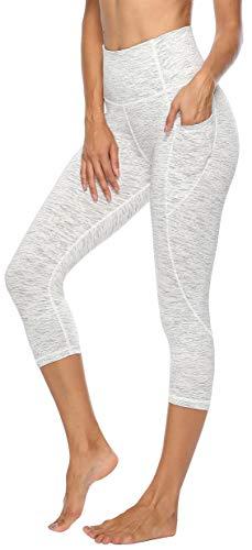 Persit Sporthose Damen, 3/4 Yoga Leggings Laufhose Yogahose Sport Leggins Capri Tights für Damen Weiß-XS