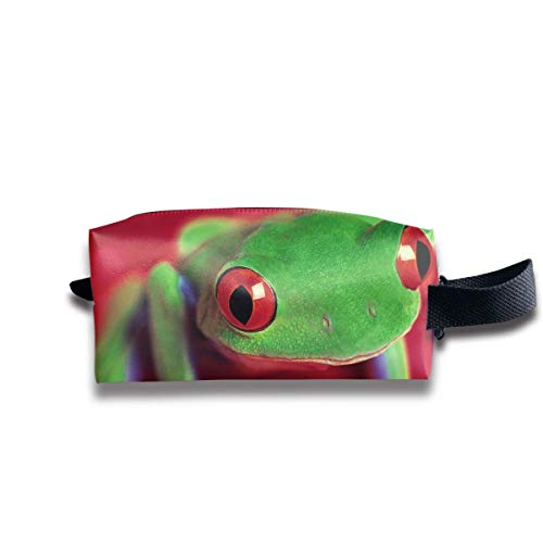 Kosmetiktasche Make-up Cute Frog Funny Photos Zip Travel Portable Storage Pouch Mens Womens Makeup Bag for Purse White Suede Oxford