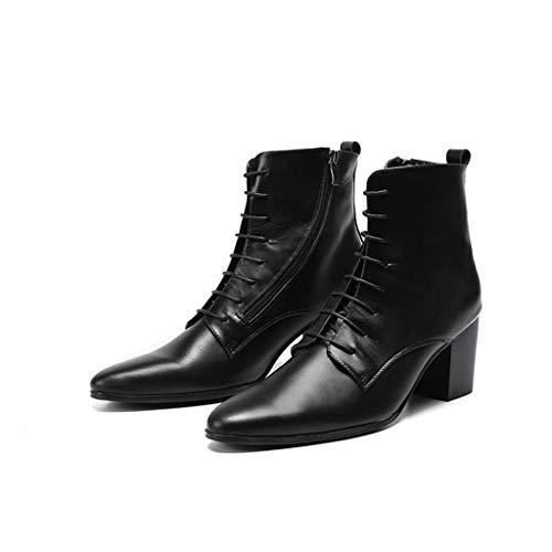 (Mr.Zhang's Art Home Men's shoes Hohe Schwarze Stiefel mit hohem Absatz und lässige Herrenstiefel)