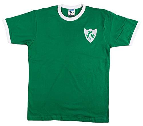 Old School Football Republic of Ireland Retro-T-Shirt mit Logo Bestickt L grün/weiß