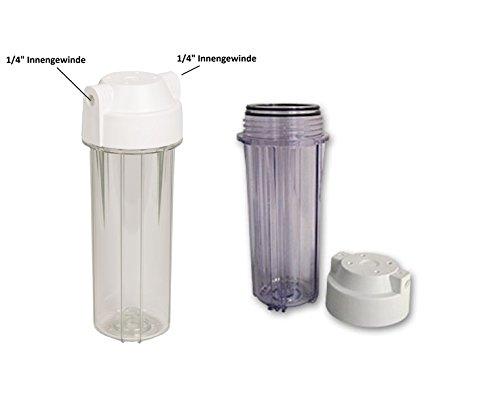 """Filtergehäuse 10"""" Transparent mit 1/4"""" Wasseranschluß, Filter Gehäuse als Wasserfilter Osmoseanlage Umkehrosmose Osmose Filteranlage Trinkwasser Anlage Aquarium Wasser"""
