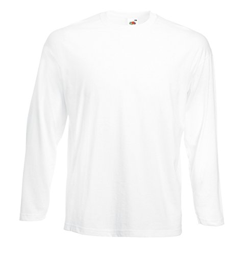 T-shirt maniche lunghe cotone uomo maglietta manica lunga fruit of the loom valueweight maglia da lavoro, colore: bianco, taglia: xl