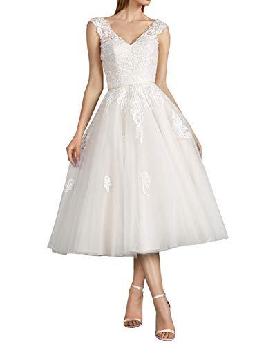 Vintage Brautkleider Hochzeitskleider Standesamt Rückenfrei Kurz A-Linie Tüll V-Ausschnitt...