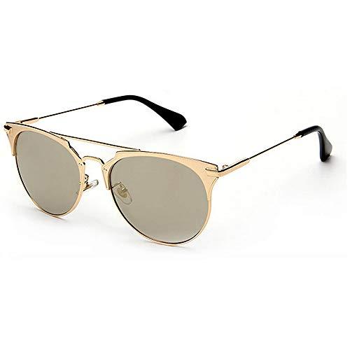 Yiph-Sunglass Sonnenbrillen Mode Retro Metall voll umrandeten Sonnenbrillen Unisex-Erwachsene UV-Schutz farbige Linse Outdoor Fahren Reisen Sommer Strand (Farbe : Gold)