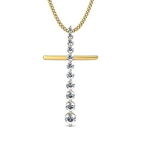 18K Or jaune 0,46CT TW Round-cut-diamond (IJ | SI) Pendentif