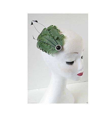 Vert Noir plume chapeau bandeau à cheveux vintage années 1920 ANNÉES 1940 Races o78 * * * * * * * * exclusivement vendu par – Beauté * * * * * * * *