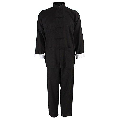 HUALIL Chinesische Kung Fu Uniform Classic Tai Chi Kostüm Shirt Hose, Unisex, Schwarz, X-Large Kung Fu Shirt Hose