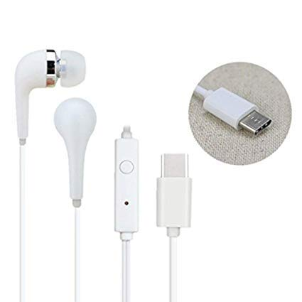 sami Earphones for All USB Type C Smartphone Wired Headset with Mic in Ear with Bluetooth (White) Image 4