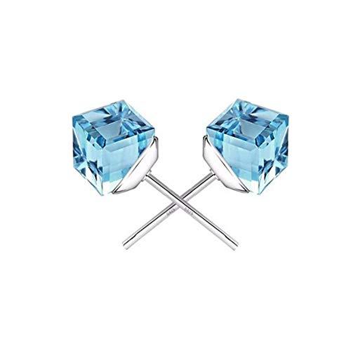 MWTWM Blue Crystal Ohrringe Tremella Zubehör Water Cube Ohrstecker Temperament Fashion Champagner Atmosphäre, Meer Blau -