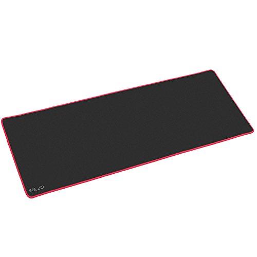 Alfombrilla para Ratón, Elzo 900 x 300 x 4mm Cojín Alfombrilla de Ratón Tela, Base de Caucho, Compatible con Ratón Láser y óptico (XXL, Negro con Rojo)