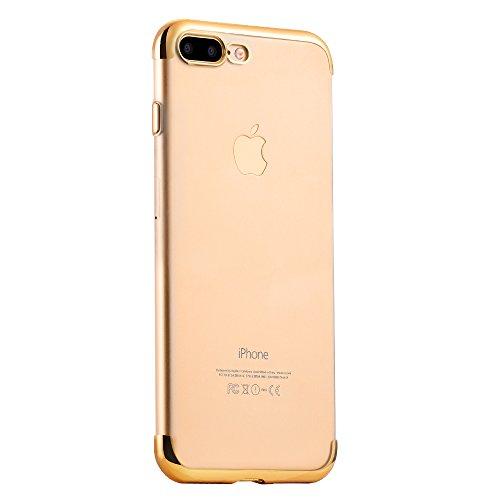 Coque iPhone 7 Plus, PUGO TOP iPhone 7 Plus Case Coque Housse Etui Shock-Absorption PC Bumper et Anti-Scratch Effacer Clair Back pour Apple iPhone 7 Plus-or ¨¦clat-or