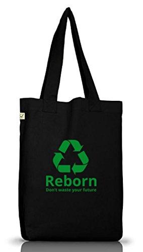 Shirtstreet24, Reborn, christlicher Jutebeutel Stoff Tasche Earth Positive (ONE SIZE) Black
