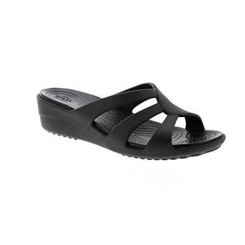 Crocs Snrhstrappywdg, Sandales Bout Ouvert Femme Noir